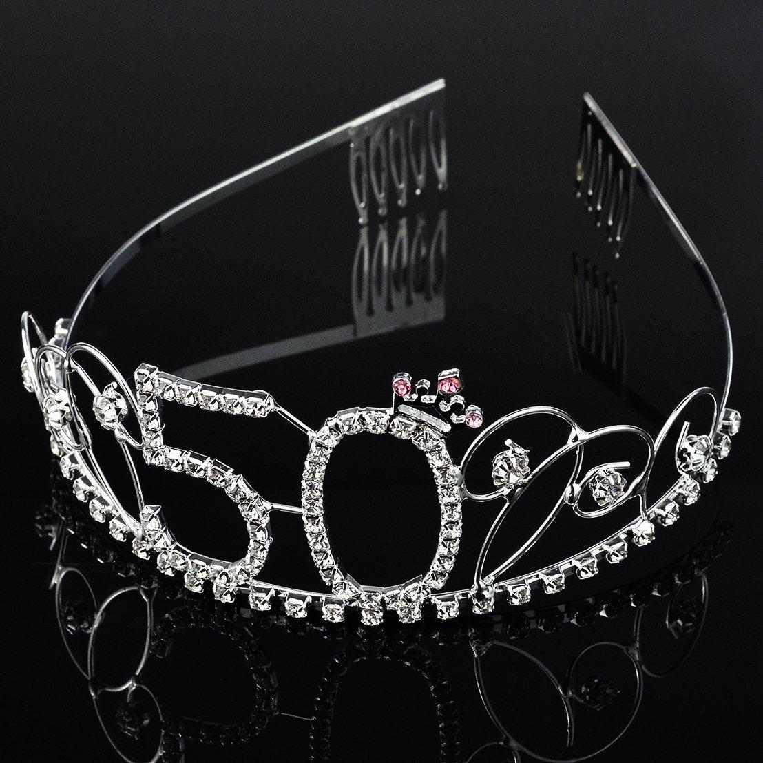 12aecc369d SUMERSHA 50th Birthday Tiara Rhinestone Crystal Crown Party Hair ...