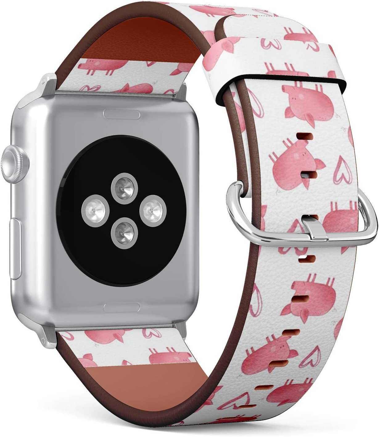 Compatible with Big Apple Watch 42mm & 44mm (All Series) Leather Watch Wrist Band Strap Bracelet with Stainless Steel Clasp and Adapters (Cute Pig)