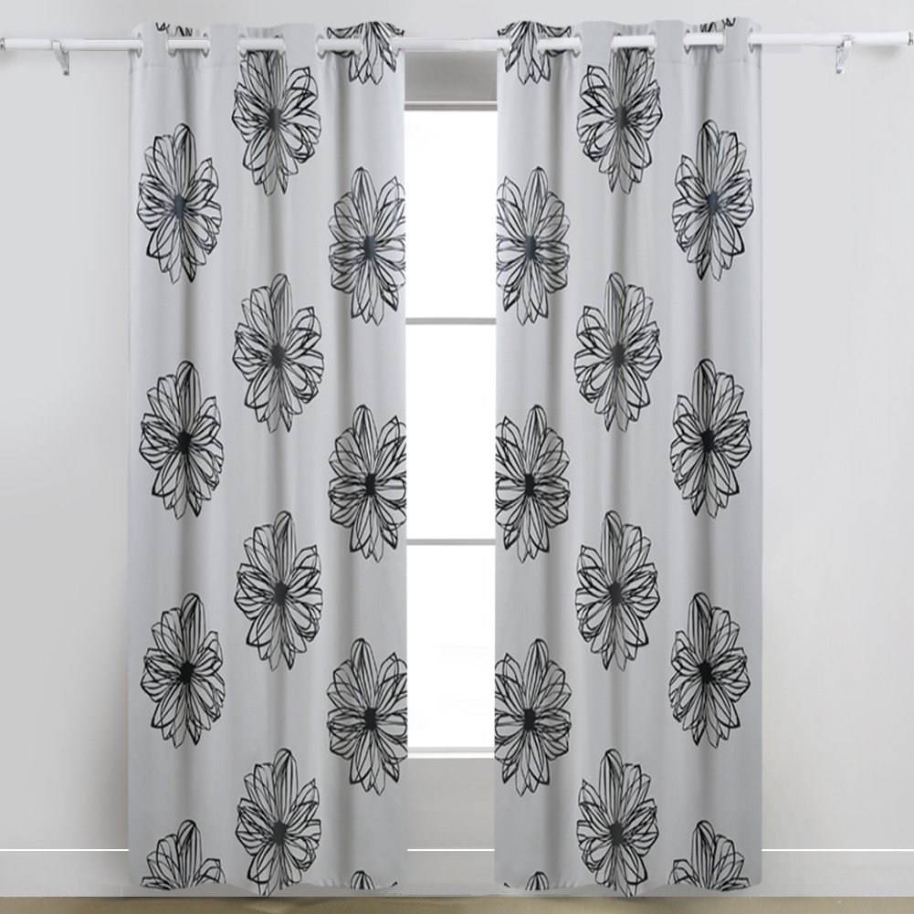 Deconovo Foil Print Flower Design Thermal Insulated Bedroom Window Blackout Curtain