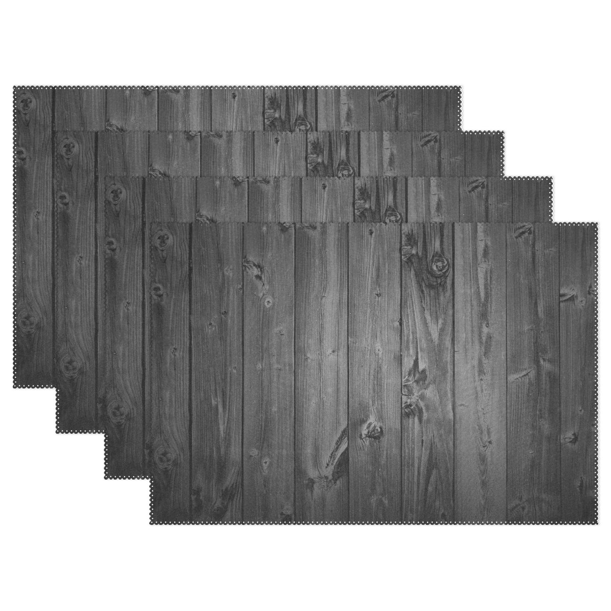 AIDEESS Custom Floor Heat-resistant Placemat Table Mat, Rustic Old Barn Wood Pattern Polyester Placemats Non-slip Insulation Mats 12''x18'' by AIDEESS (Image #1)