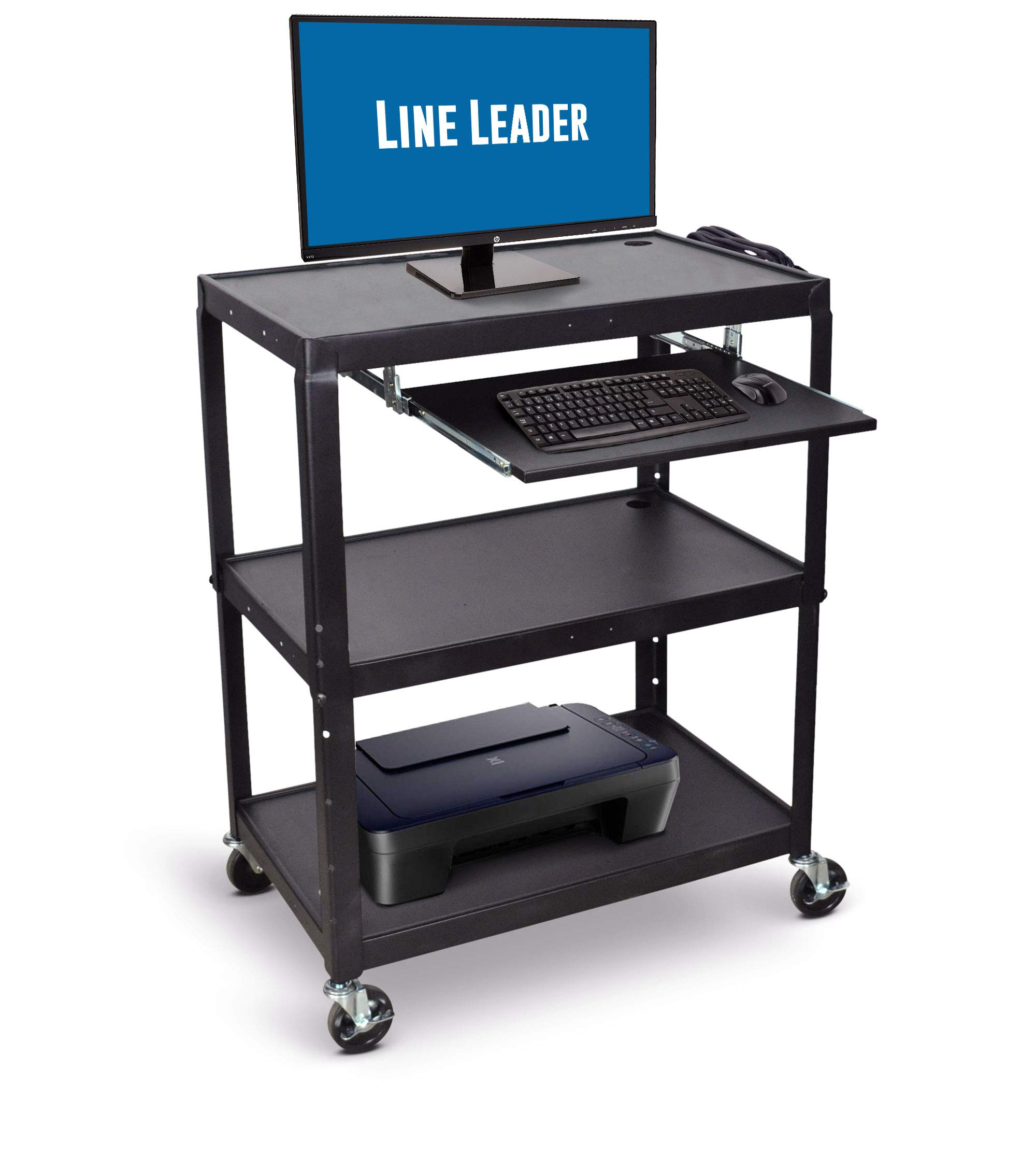 Line Leader Extra Wide AV Cart with Lockable Wheels -Adjustable Shelf Height- Includes Pullout Keyboard Tray and Cord Management! (42x32x20) (Extra Wide AV Cart - Black) by Stand Steady (Image #1)