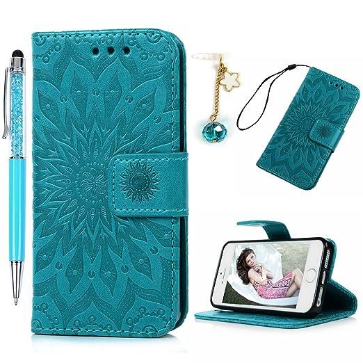3 opinioni per Cover iPhone SE, Cover iPhone 5 Pelle Stampata Folio Wallet Custodia- Morbido