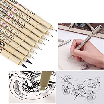 Saking Fine Liner Tinte Stifte 9 Schwarz Micro Spitze Zeichnen