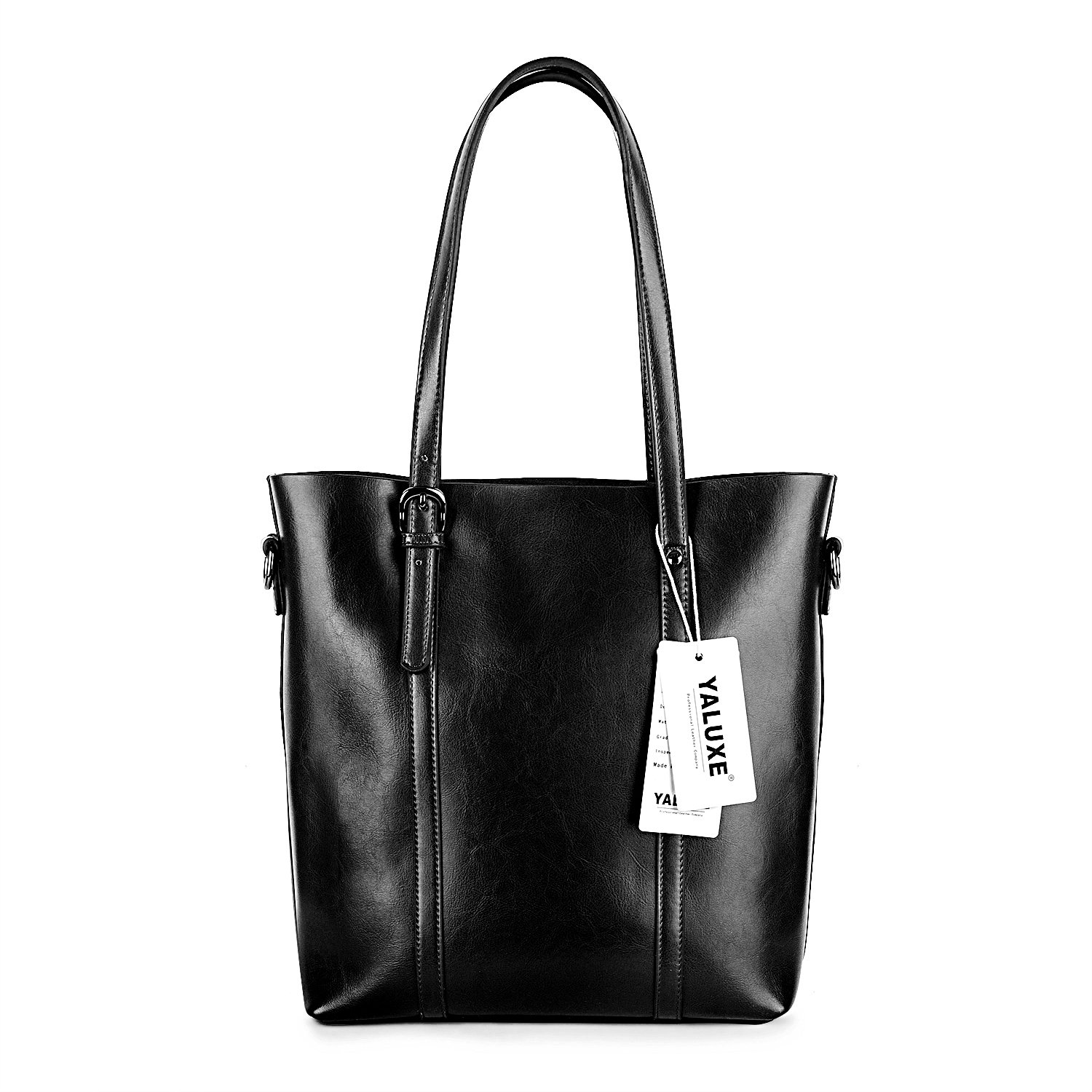 YALUXE Women's Vintage Style Soft Leather Work Tote High Style Shoulder Bag for Women black by YALUXE (Image #3)