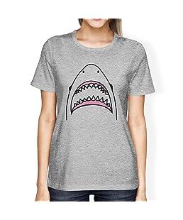 Shark Womens Grey Graphic Tee Crewneck Cotton Summer Light T-Shirt (Small)