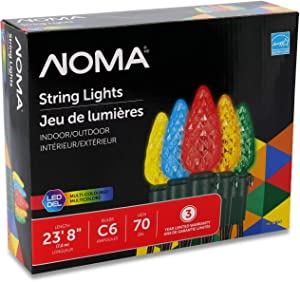 NOMA C6 LED Christmas Lights | 70 Multi-Color Bulbs | 23.8 Ft. String Light | UL Certified | Indoor & Outdoor