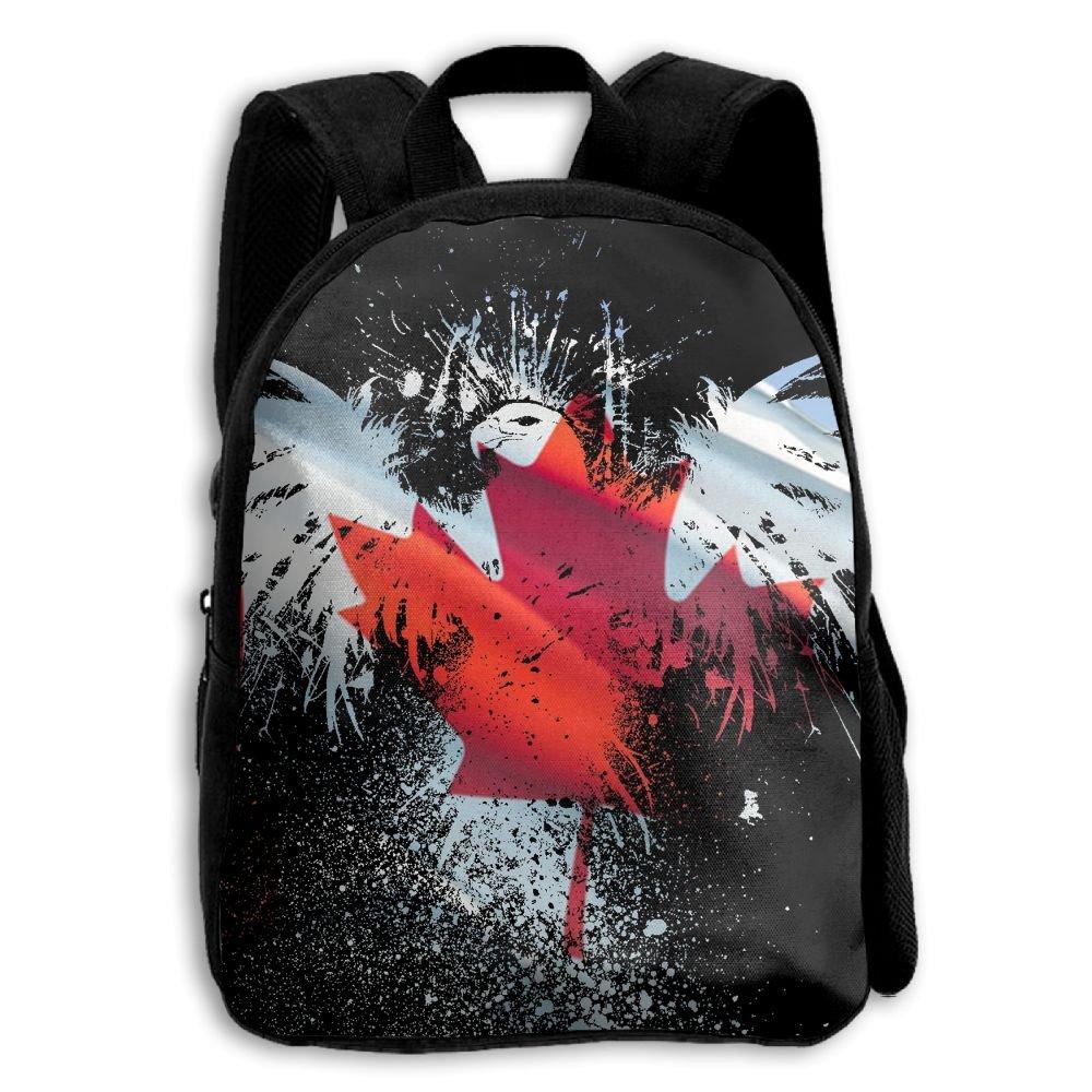 fidaljfカナダ国旗イーグル子供の3dプリントファスナー付き旅行バッグ学校バックパック   B07DVHXPVR