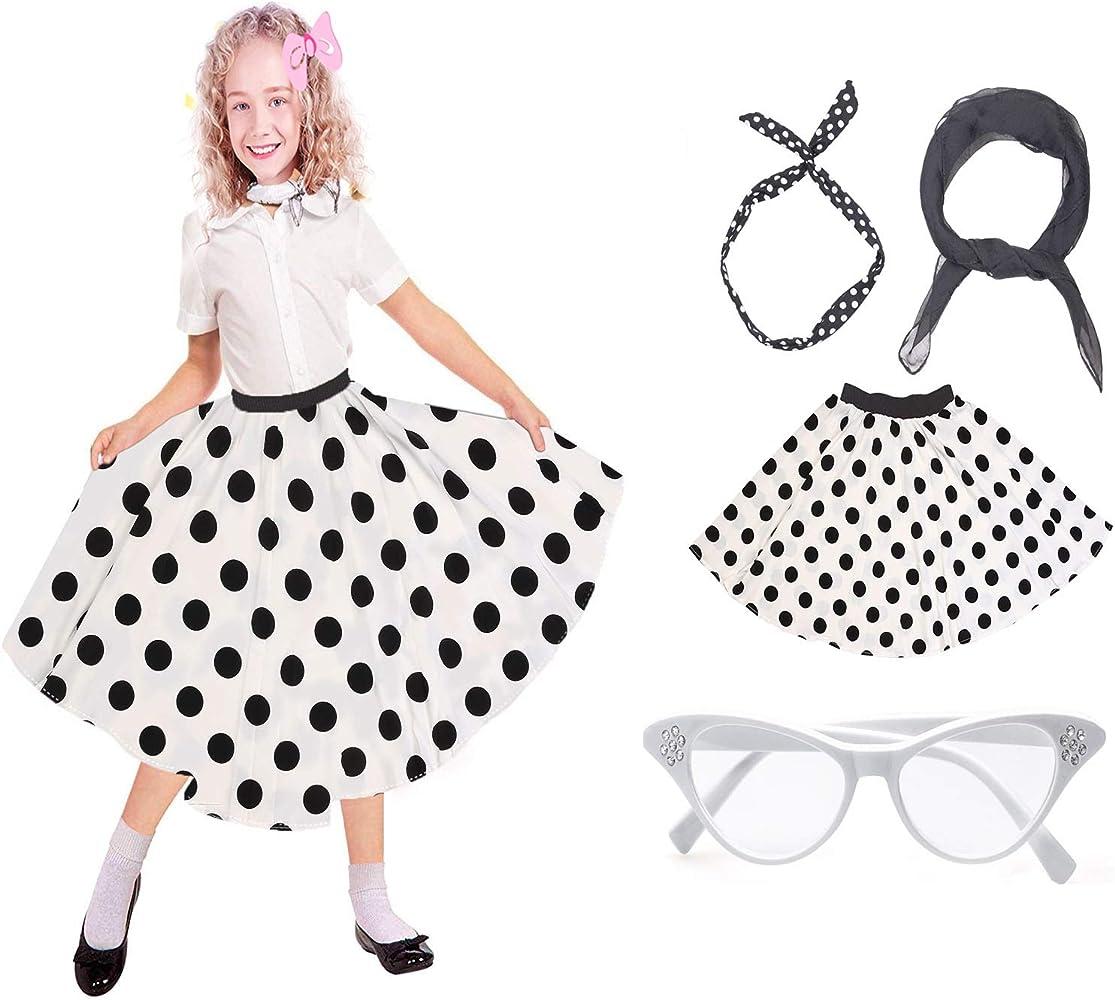 Beelittle 50s Costume Accessories Set Girl Vintage Lunares Falda ...