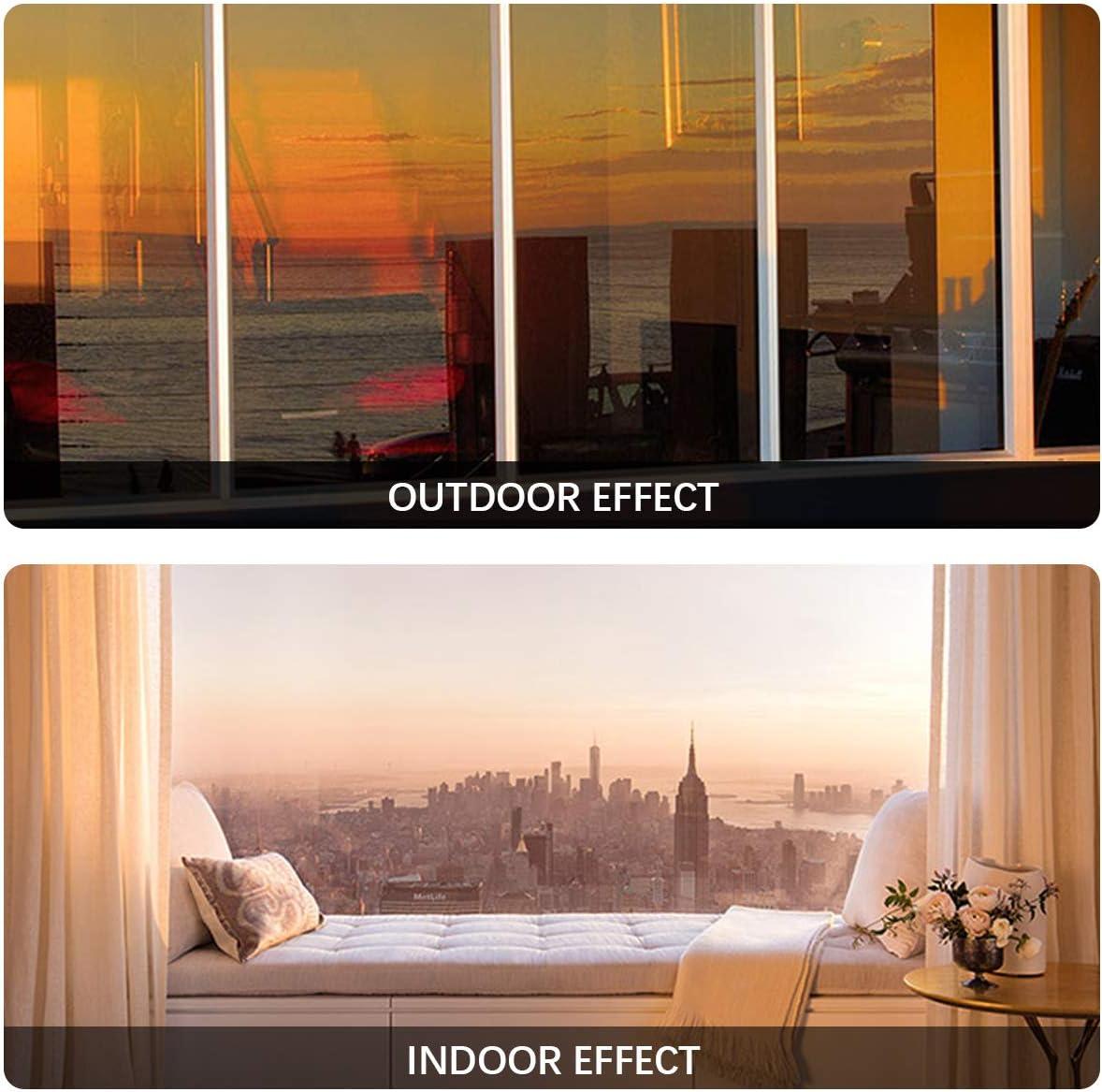 Bilisder Pellicola Specchio per Finestra Pellicola Oscurante per Vetri Autoadesiva per Privacy Anti-UV e Controllo del Calore lhome Office 60x200cm Argento, 60x200cm