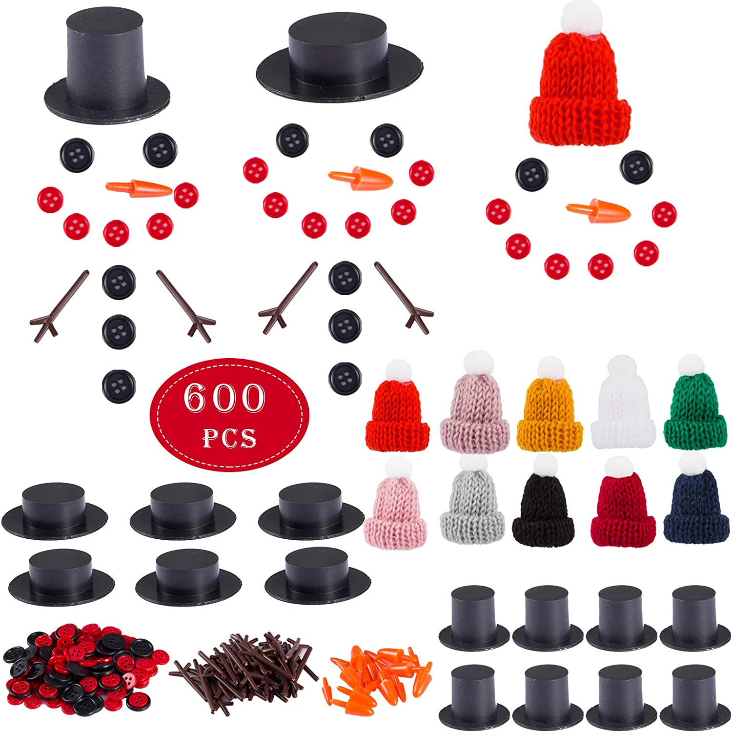 20 Mini Black Magician Hats 120 Tiny Buttons and 40 Trigeminal Hand for Christmas Party Supplies 20 Carrot Noses Buttons Marrywindix 200 Pieces Christmas Snowman DIY Craft Buttons Kit