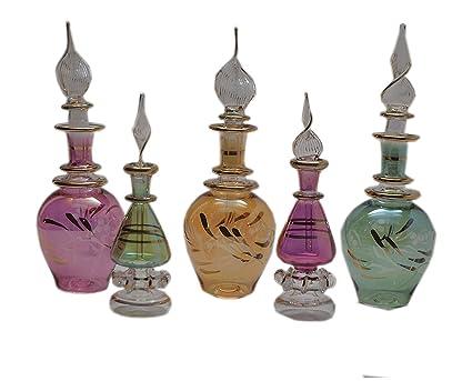 3a95fa432bf5 Set of 5 Egyptian Perfume Bottles Pyrex Glass (NEFERTARI)