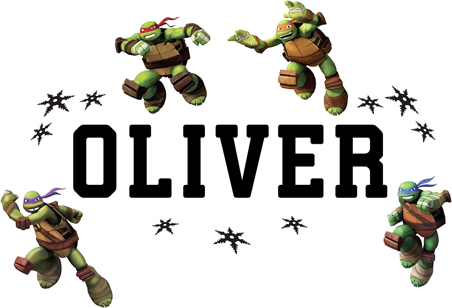 Olivers Labels Personalized Teenage Mutant Ninja Turtles Kids Name Wall Decal Life Size