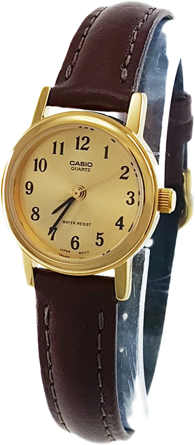 Casio Women s LTP1095Q-9B1 Brown Leather Quartz Watch with Gold Dial