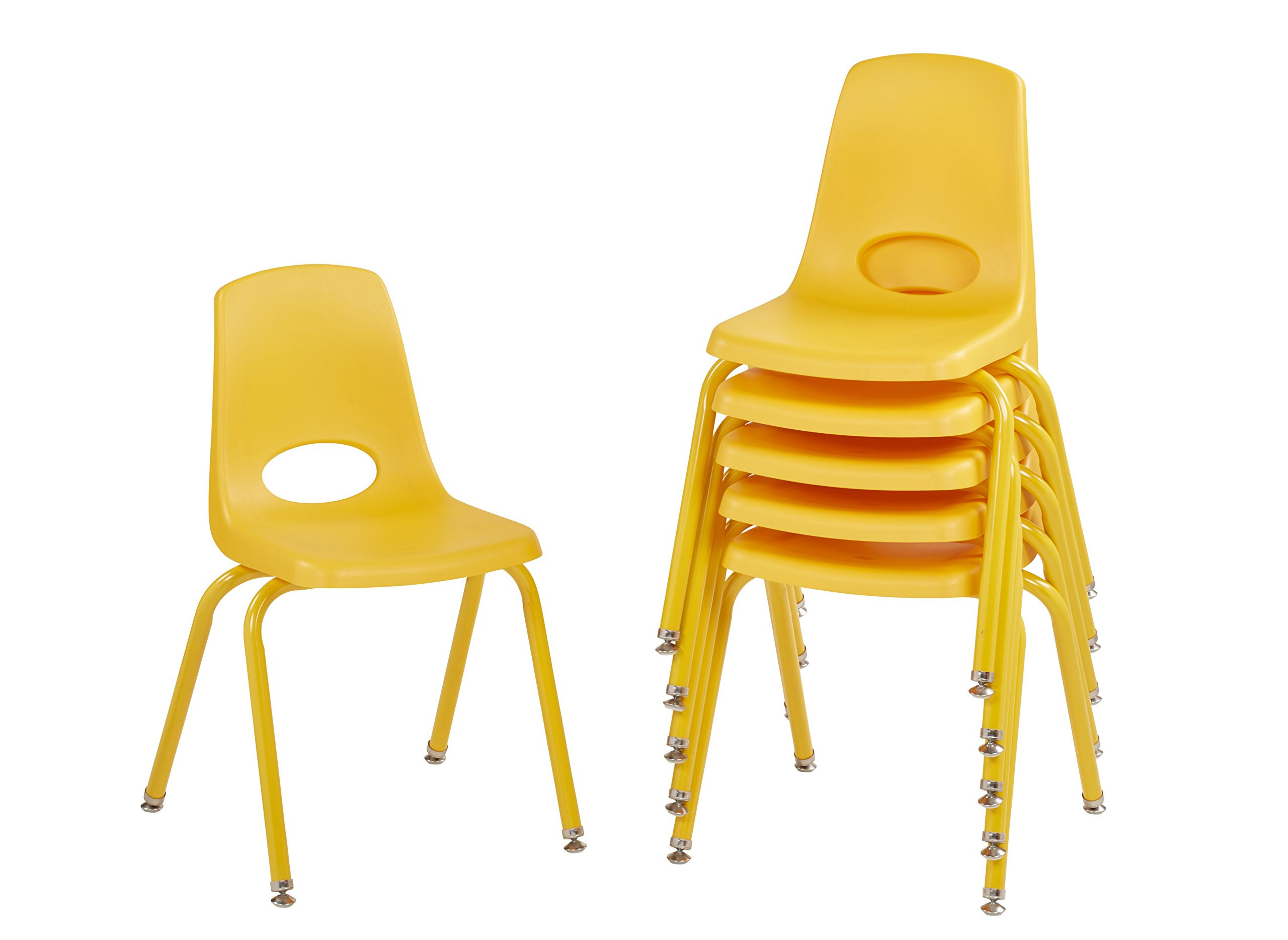 ECR4Kids 16'' School Stack Chair with Powder Coated Legs and Nylon Swivel Glides, Yellow (6-Pack)