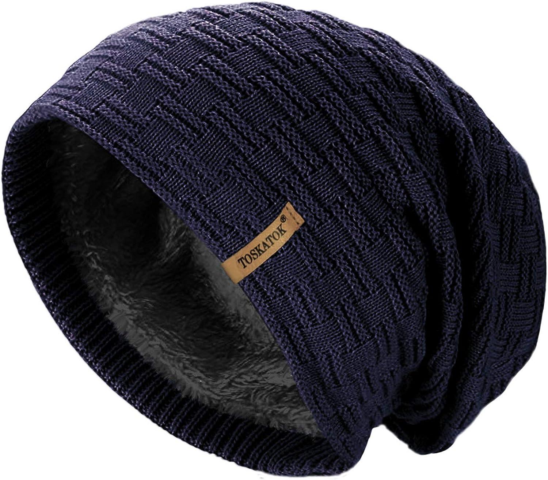 TOSKATOK/® Damen Herren Unisex Warm Winter Strukturierter Strick-Slouch-Beanie-Hut mit kuscheligem Teddy-Fleece-Innenfutter aus Kunstpelz