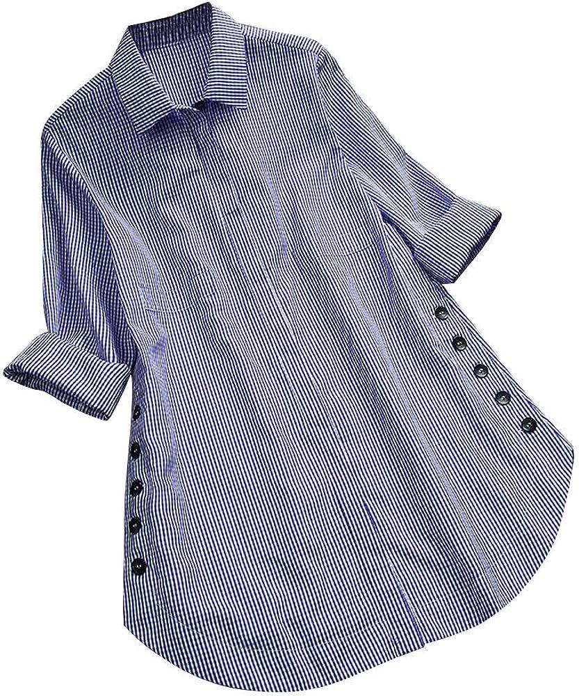 OPAKY Botón de Celosía de Manga Larga para Mujer Tops Ocasionales Camisa Suelta Tallas Grandes Camisas Mujer Manga Larga Blusa Delgado Tops Blusa: Amazon.es: Ropa y accesorios