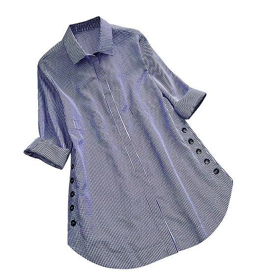 LANSKIRT Camisa de Las Mujeres Impresión de Cuadros Manga Larga Tallas Grandes Loose Casual Blusa con