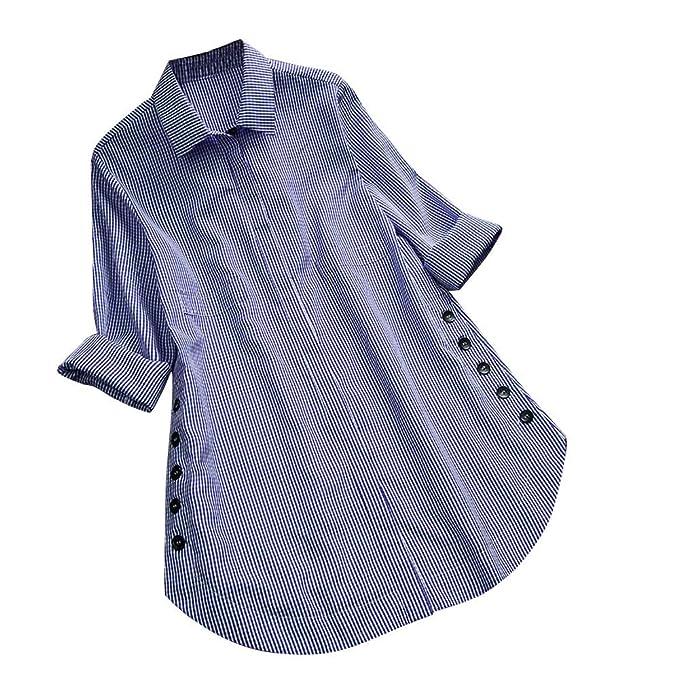 bcfaecb0d5870 LANSKIRT Camisa de Las Mujeres Impresión de Cuadros Manga Larga Tallas  Grandes Loose Casual Blusa con Botones en la Parte Superior del botón de  Bolsillo  ...