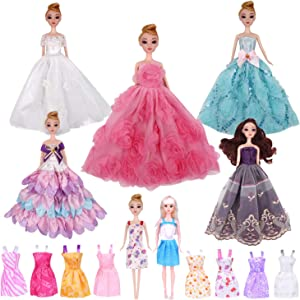 EuTengHao 15 Packs Doll Clothes for 11.5 Inch Girl Dolls Set Contains 5 Handmade Clothes Wedding Party Gown Outfits Dresses for Girl Doll and 10 Different Princess Doll Dresses Clothing for Girl Doll