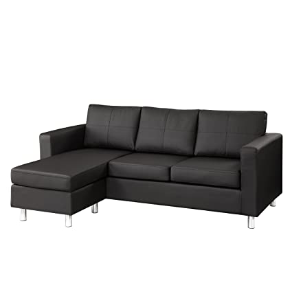 Dorel Asia Faux Leather Sectional Sofa, Black