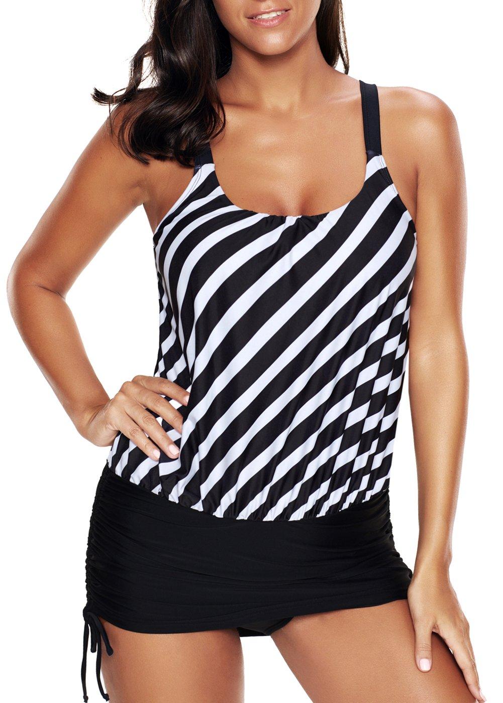 Papaya wear One Piece Stripe Swimwear Tankini Top with Bottom for Women L