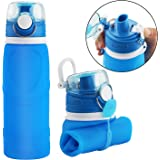 WSTECHCO Faltbare Trinkflasche, aus Silikon, auslaufsicher, BPA-frei, faltbar, für Sport, Reise, Radfahren, Camping, blau
