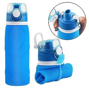 Botella de Agua Plegable con Válvula a Prueba de Fugas – Cantimplora Reutilizable y Flexible –