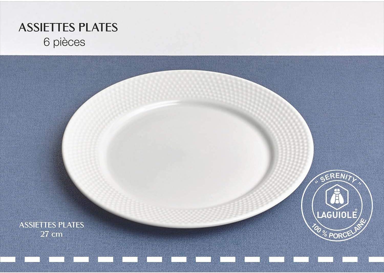 Laguiole - Juego de 6 platos llanos (27 cm, porcelana), color ...