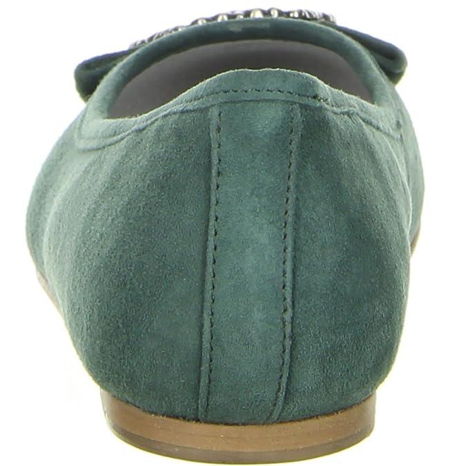 Damen Ballerinas grün, Größe:38, Farbe:Grün Bergheimer Trachtenschuhe