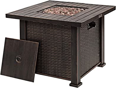 "Giantex 30"" Gas Fire Table 50,000 BTU Square Propane Fire Pit Table with Lid and Lava Rocks"