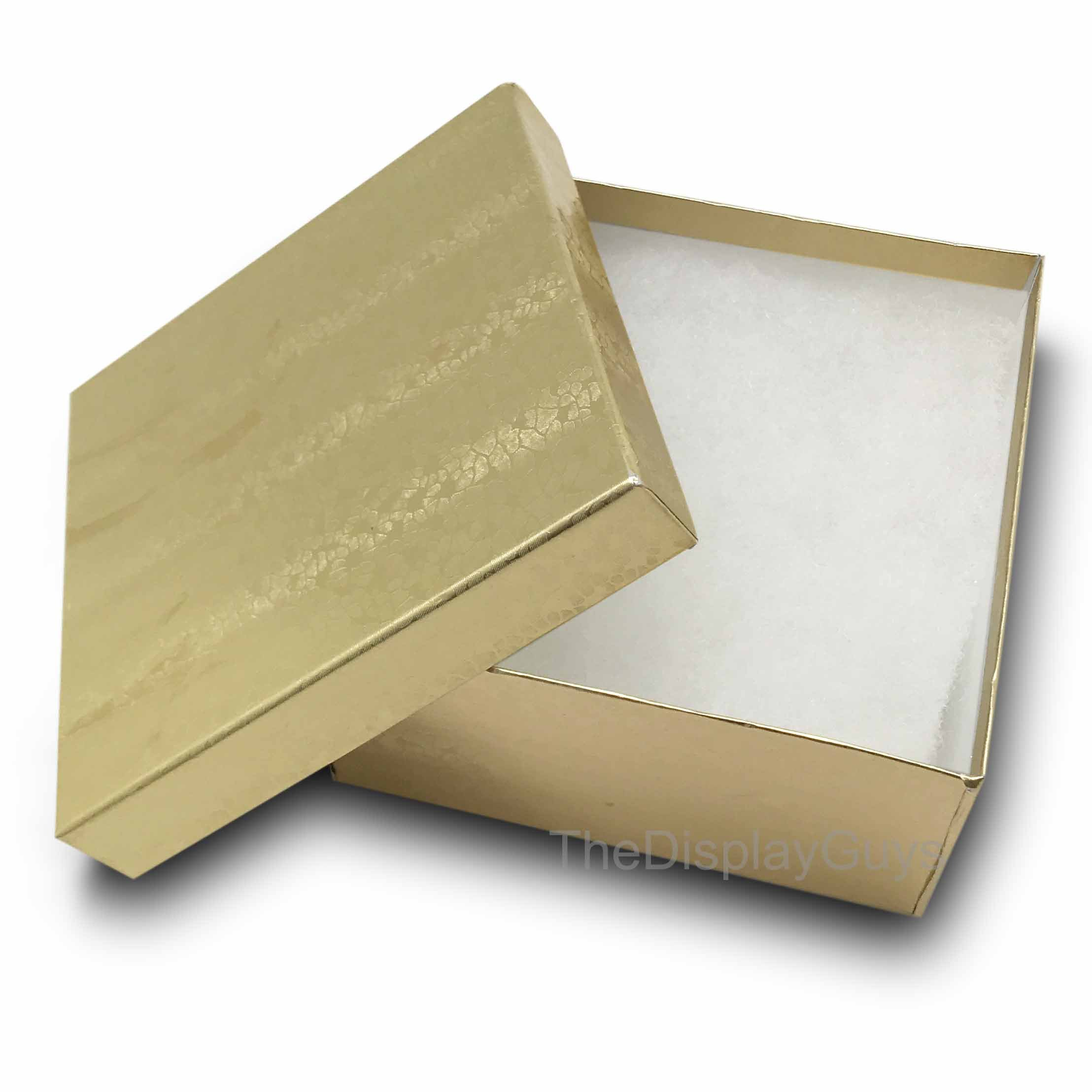 The Display Guys, Pack of 25 Gold 3 3/4x3 3/4x2 inches Cotton Filled Paper Jewelry Box Gift Display Case (#34)