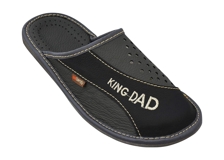 Pantoffeln aus Echtleder Schwarz Braun Rot 40 41 42 43 44 45 46 Genuine Leather BeComfy Herren Hausschuhe