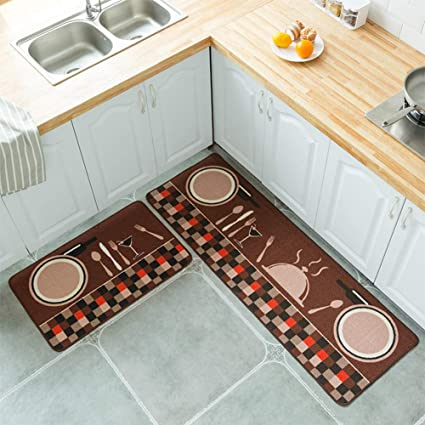 BEESCLOVER 2PCS/Set Simple Cartoon Printed Non Slip Floor Mat Carpet for Kitchen Door 50X80+50X120cm Set Plate Fork