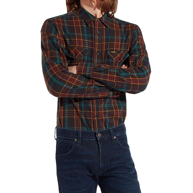 Wrangler - Camisa Casual - Button Down - con Botones - Manga Larga - para Hombre