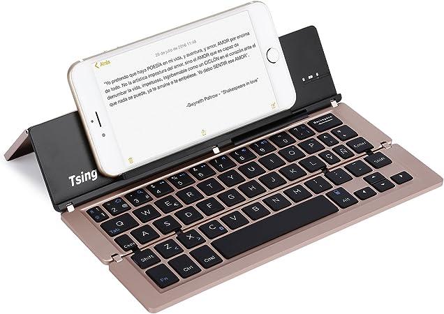Tsing Mini Teclado Bluetooth Tri-Plegable Metálico Ultra-delgado de Disposición en Español con Ñ para iOS Android Windows (Color Oro Rosa)