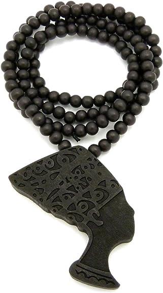 "Egyptian Side Face Queen Nefertiti Pendant 6mm 30/"" Wooden Bead Hip Hop Necklace."