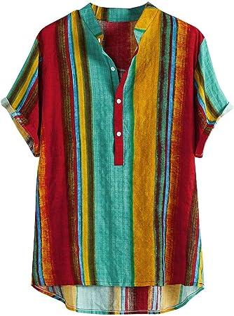 Camisa A Rayas Hombre, Dragon868 Pintura Impresión Camisa Hawaiana de Manga Corta para Niño, Playa de Verano, Moda Blusa Suelta Beach Tops, Informal Bolsillo Delantero Camisas Polos, S-XXXL