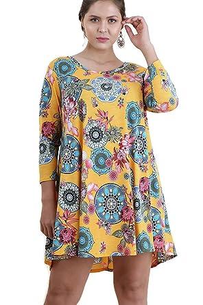 ca8e0b000f4 Umgee Women s Bohemian Mandala Print Dress Plus Size (XL