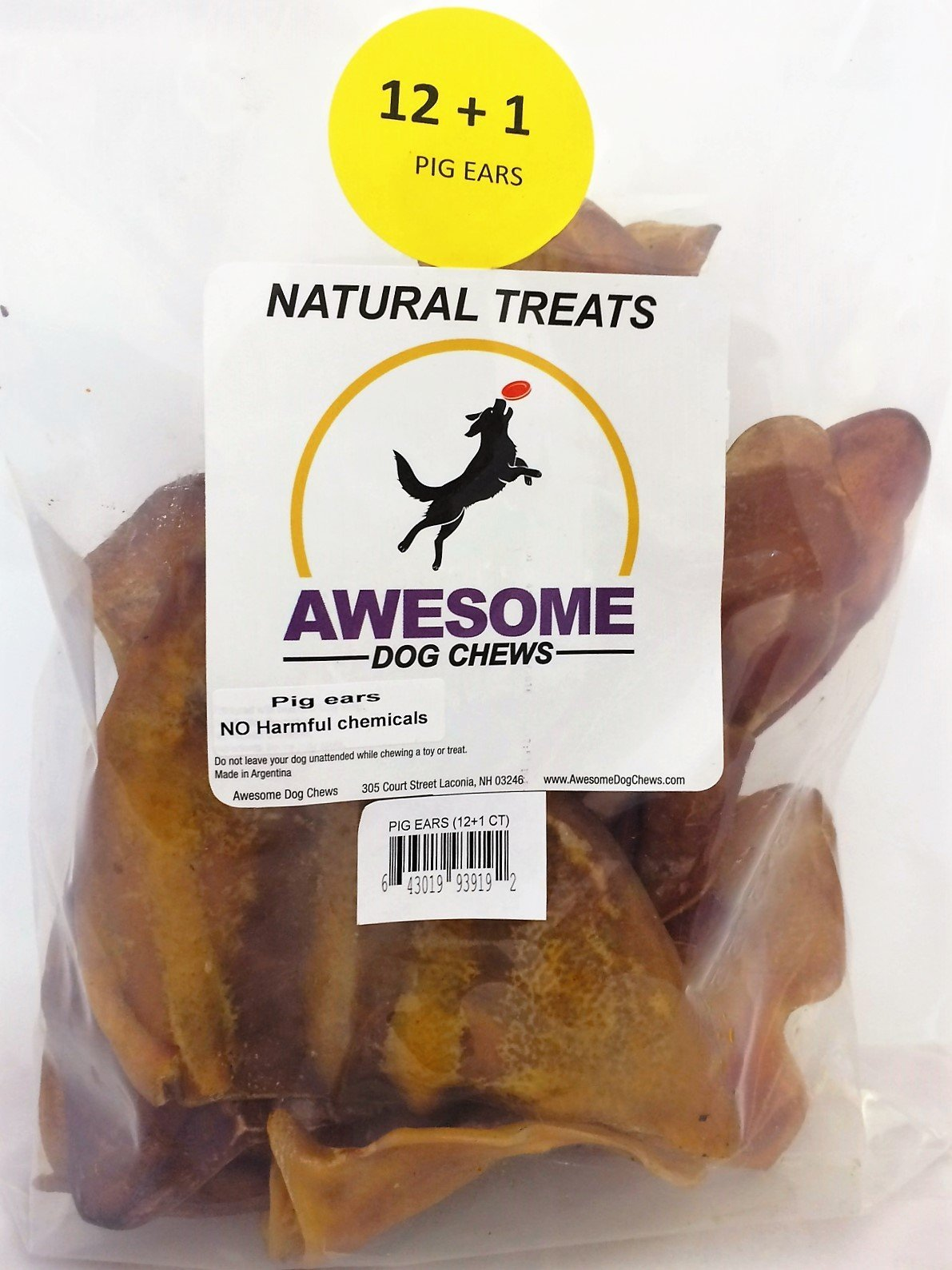 100% Awesome Dog Chews All Natural Pig Ears 12 Count +1 FREE Value Bag - FDA / USDA Inspected Through a Registered FDA Plant