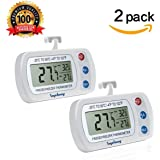 [Upgraded Version] 2Pack Digital Refrigerator Thermometer SUPLONG IPX3 Waterproof Freezer Room Thermometer With Hook, Large LCD Easy to Read Display and Max/Min Function