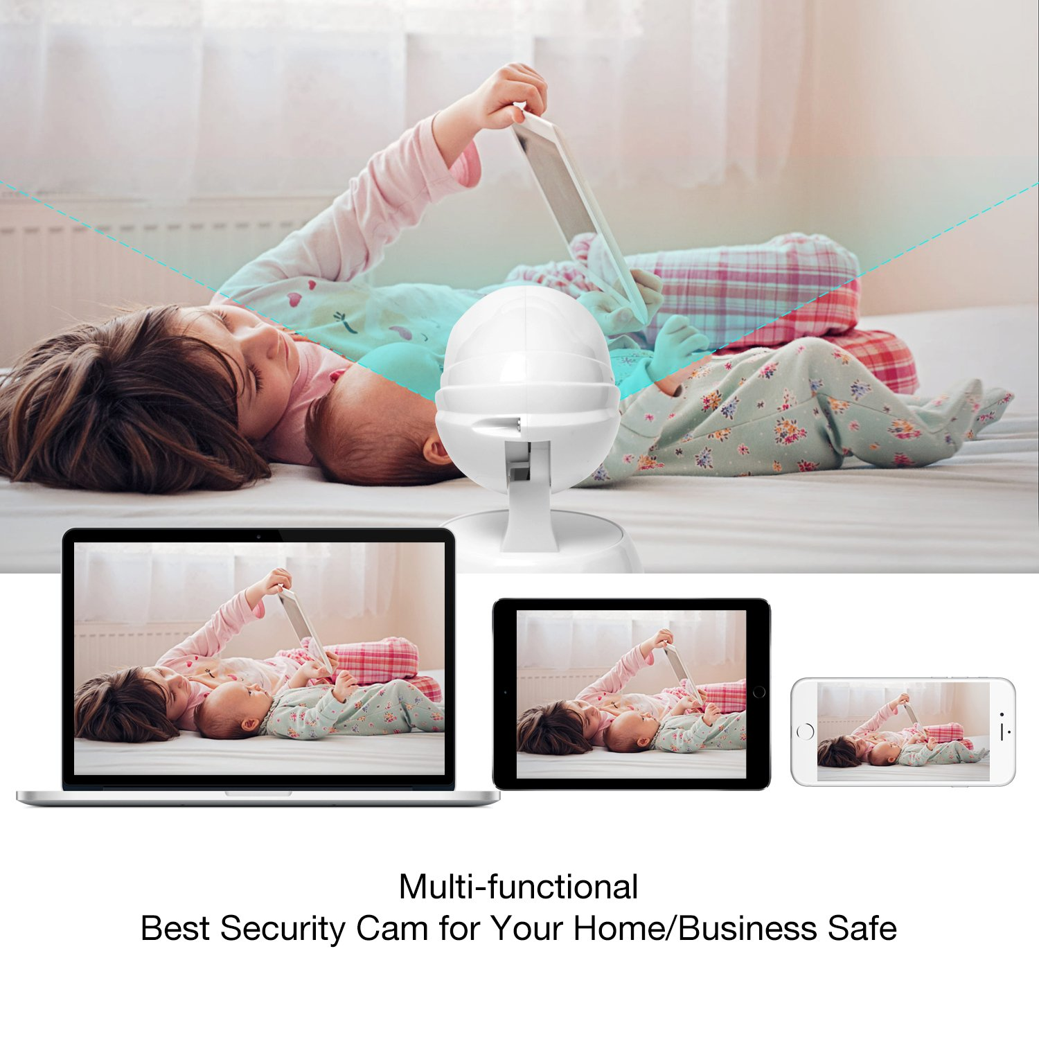 Video Baby Monitor, Conico 1080P Wireless WiFi Surveillance Camera Nanny Cam with Two Way Audio Night Vision Motion Detect Remote Viewing Pan Tilt Zoom for iPhone and Android by Conico (Image #5)