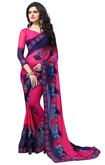 62c2b1bb62b Culture Fab Women Georgette Heavy Latest Designer Embroidery Party Wear  Party Wear Fancy Saree SareeWith Blouse Piece (Multi Color)  Amazon.in   Clothing   ...