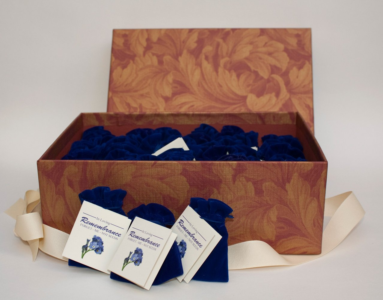 Forget-me-not seed Packets in Velvet Pouches - Funeral Favor or Funeral Gift - Personalized Plantable Celebration of Life (25) by Next Gen Memorials (Image #2)