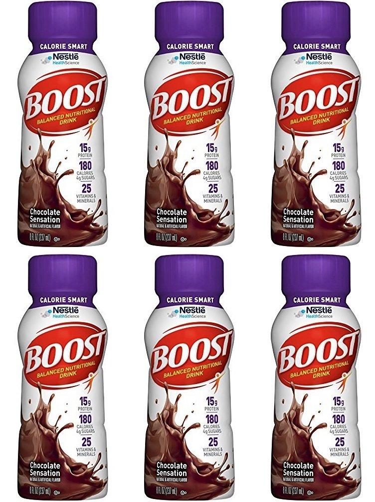 2897ff8be8121 Boost Calorie Smart Balanced Nutritional Drink, Chocolate Sensation, 8 fl  oz Bottle, (Pack of 6)