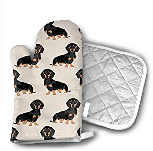 Wiener Dog Fabric Doxie Dachshund Weiner Dog Pet Dogs Oven Mitts and Potholders (2-Piece Sets) - Kitchen Set with Cotton Heat Resistant,Oven Gloves for BBQ Cooking Baking Grilling