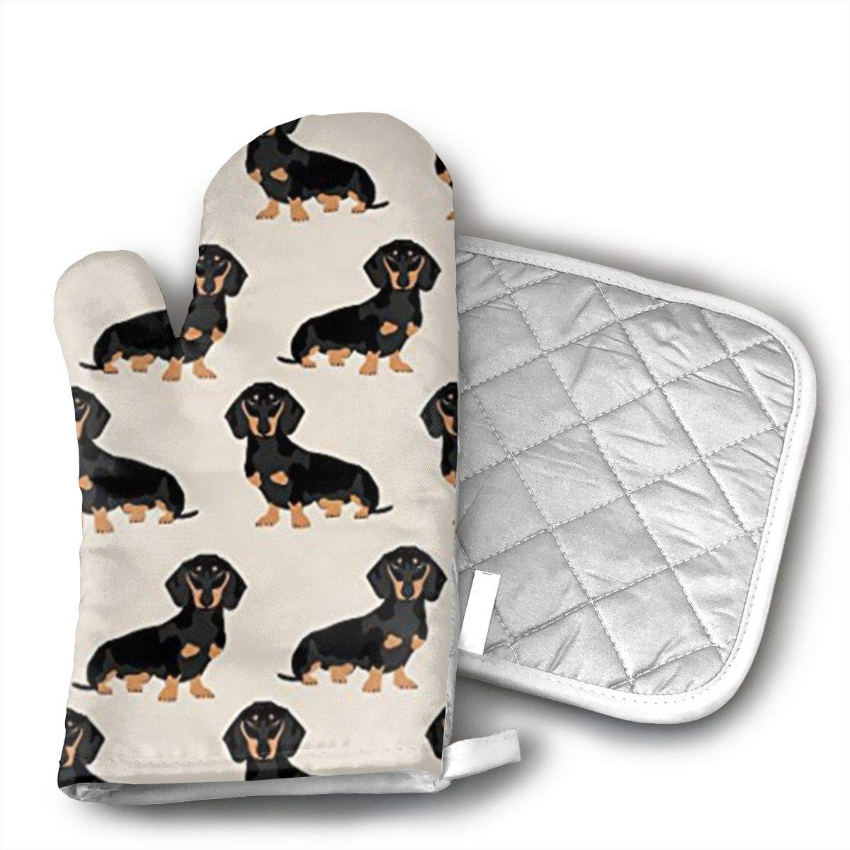Wiener Dog Fabric Doxie Dachshund Weiner Dog Pet Dogs Oven Mitts and Pot Holders Kitchen Mitten Cooking Gloves,Cooking, Baking, BBQ.