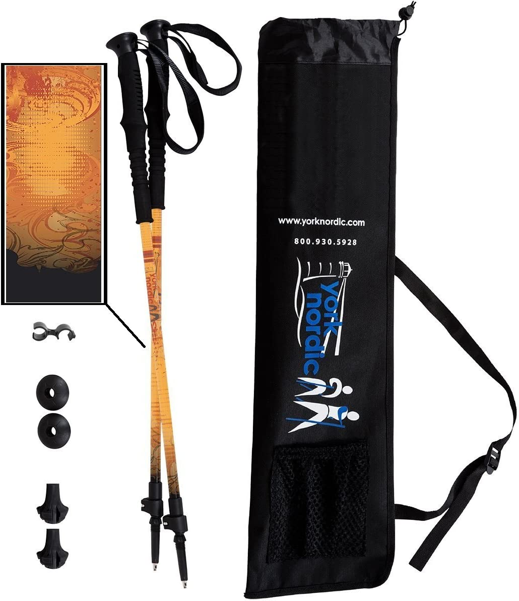 York Nordic 2 Piece Adjustable Trekking Walking Poles – Lightweight – 6 Color Options – Choice of Grips – 2 Poles, Tips Bag