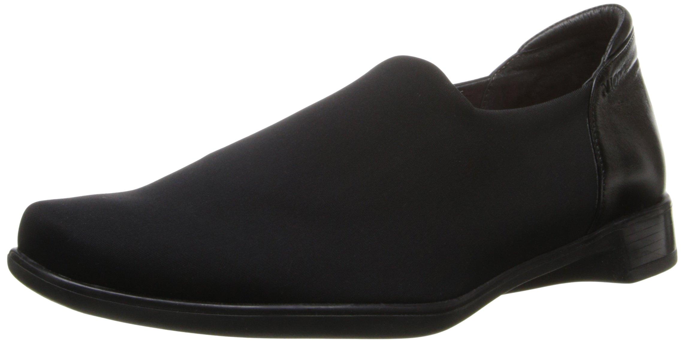 Naot Footwear Women's Noble Black Stretch/Black Midnight Leather Flat 38 (US Women's 7) M
