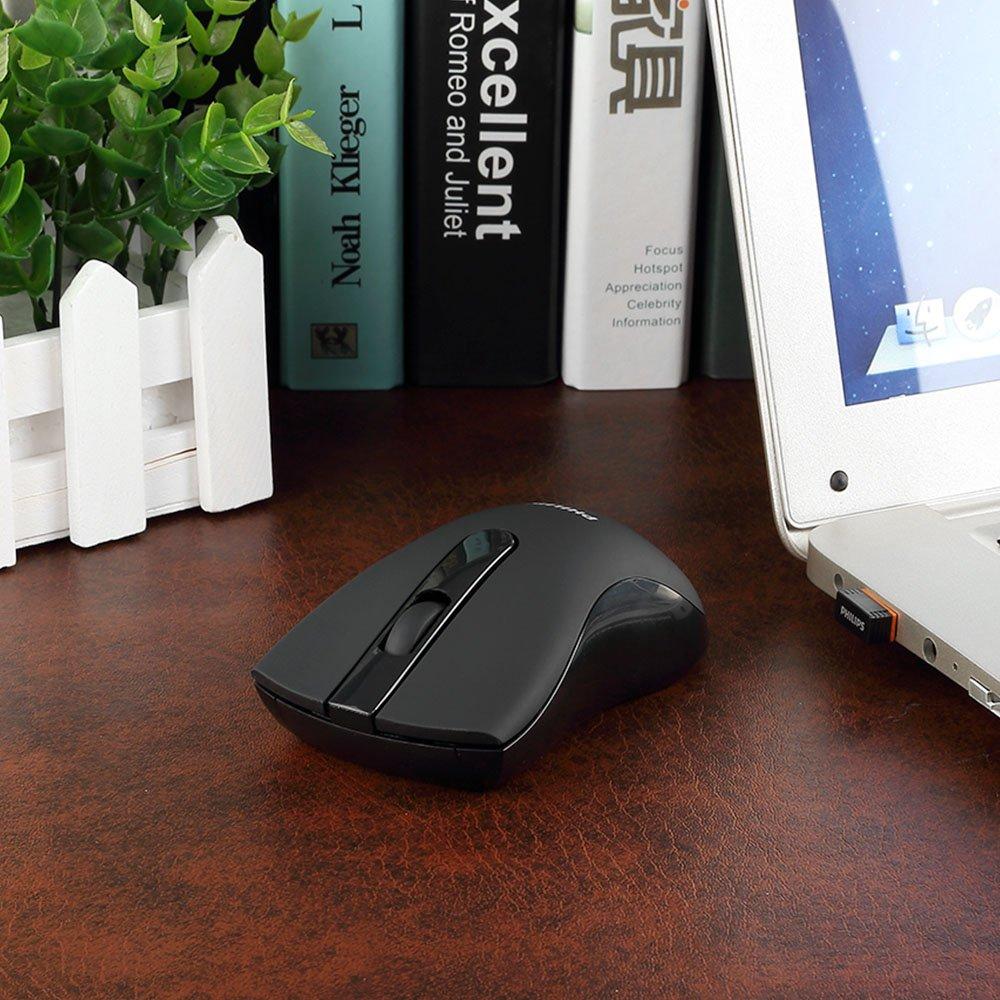 Philips Souris Sans Fil avec Récepteur Nano USB Bruits Réduction 2.4G Souris Silencieuse Parfaite Pour PC/Ordinateur Portable/MacBook dans la Maison et au Bureau Compatible avec Windows-Noir