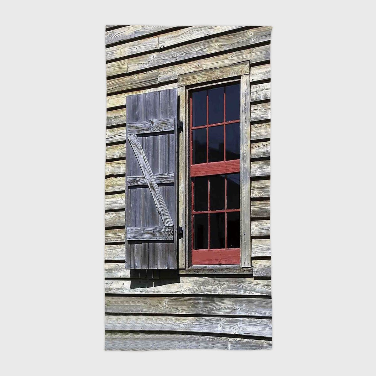 One Side Printing Hotel SPA Beach Pool Bath Hand Towel,Shutters Decor Original Wooden Window Shutters in Historical Village Image Cottage Style Decor Print Red Brown,for Kids Teens and Adults by iPrint (Image #1)